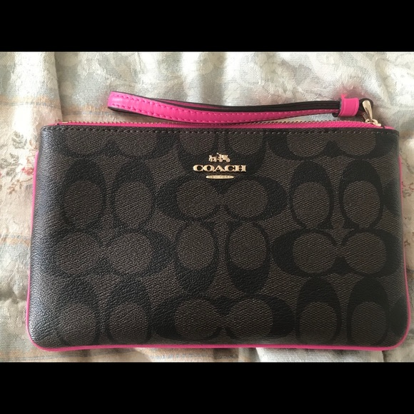 Coach Handbags - Coach Brown and Pink Wrislet